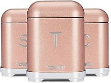 Tower Glitz Storage Canisters In Blush Pink