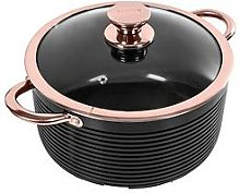 Tower Linear Rose Gold 24 Cm Casserole Pan In Black