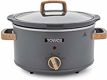 Tower Scandi T16034GRY Slow Cooker with 3 Heat