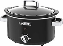 Tower T16018BL Stainless Steel Slow Cooker with 3