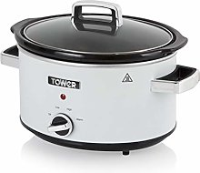 Tower T16018C Stainless Steel Slow Cooker with 3