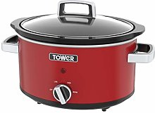 Tower T16018R Stainless Steel Slow Cooker with 3