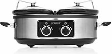 Tower T16023SS Double Stainless Steel Slow Cooker,