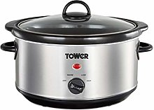Tower T16039 Slow Cooker with 3 Heat Settings and