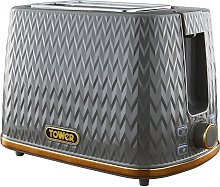 Tower T20054GRY Empire Textured 2 Slice Toaster -