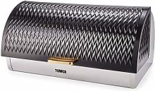 Tower T826090BLK Empire Bread Bin, Toll Top Bread