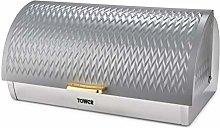 Tower T826090GRY Empire Bread Bin, Toll Top Bread
