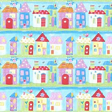 Town Houses Children's Wallpaper Birds Painted