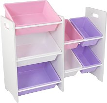 Toy Storage Unit with 7 Bins Pastel and White