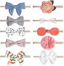 TOYANDONA 10PCS Toddler ribbon hair bows ponytail