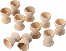 Toyvian 10pcs Wooden Egg Cups Holder Tabletop