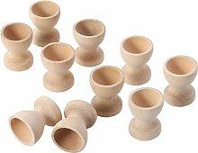 Toyvian 10pcs Wooden Egg Cups Holder Tabletop
