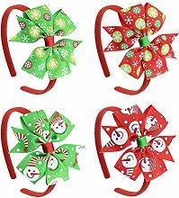 Toyvian 4 Piece Bow Alice Band Christmas Children