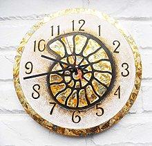 Tr73ans Big Yellowen Ammonite Snail Wall Clock,