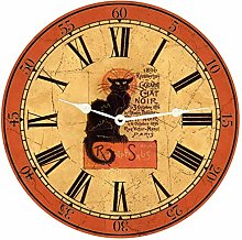Tr73ans Chat Noir Wall Clock for Living Room Home