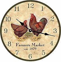 Tr73ans Chicken Wall Clock for Living Room Home