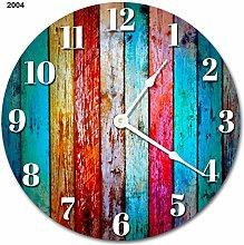 Tr73ans COLORED WOOD BOARDS Clock Rustic Clock