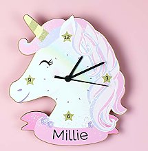 Tr73ans Personalised Unicorn Shape Wooden Clock