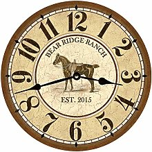 Tr73ans Personalized Horse Wall Clock for Living
