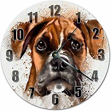 Tr73ans Wood BOXER DOG PAINT Clock, Living Room