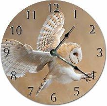 Tr73ans Wood COMMON BARN OWL Clock, Living Room