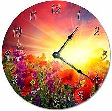 Tr73ans Wood FLOWERY SUNRISE Clock, Living Room