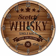 Tr73ans Wood Scotch Whiskey Clock, BROWN Clock,