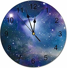 Traasd11an 12 Inch Round Wood Wall Clock, Battery