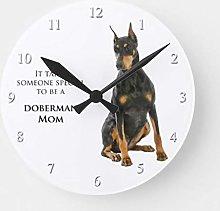 Traasd11an 15 by 15-inch Wall Clock, Doberman Mom