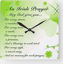 Traasd11an 15 by 15-inch Wall Clock, Irish Prayer