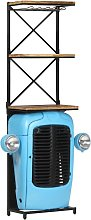Tractor Wine Cabinet Blue 49x31x170 cm Solid Mango