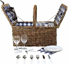 Traditional 2 Person Wicker Picnic Basket