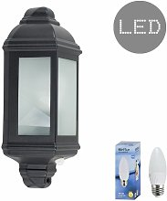 Traditional Aluminium PIR Motion Sensor Outdoor Garden Wall Lantern IP44 Light + 4W LED Candle Bulb - Warm White