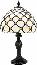 Traditional Amber Stained Glass Tiffany Table Lamp