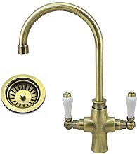 Traditional Antique Brass Kitchen Sink Mixer Tap &