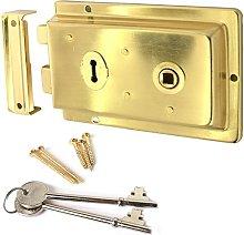 Traditional Brass Victorian Rim Lock - Left &