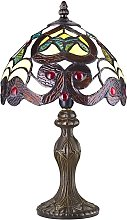 Traditional Burnt Orange Striped Tiffany Lamp with