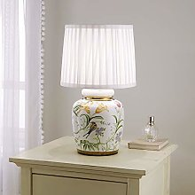 Traditional Ceramic Floral Table Lamp with White