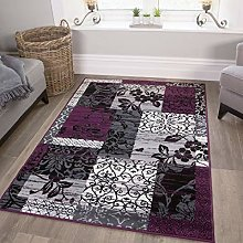 Traditional Floral Patchwork Purple Living Room