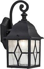 Traditional Outdoor Matt Black Wall Lantern Light