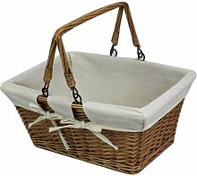Traditional Shopping Basket with Folding Handles