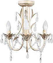 Traditional 5 Way Flemish Style Ceiling Light Chandelier Fitting in a Shabby Chic Distressed White Effect Finish