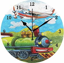 Train and Airplane Wall Clock, Silent Non Ticking