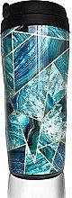 Travel Mug Turquoise Navy Blue Agate Geometric