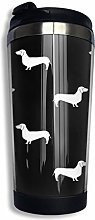 Travel Mug Warmer Tumbler White Dachshund Doxie