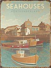 Travel tin sign, Seaside Print, Illustration,