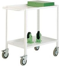 Tray Trolley With 2 Shelves, White, Free Express