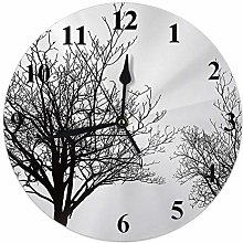Tree Clock Bear Dry Trees Without Leaves Birds On