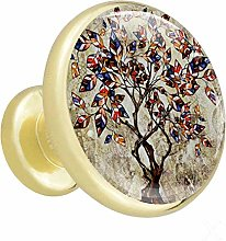 Tree Design Art Cabinet knobs Gold knobs for