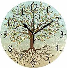 Tree of Life Green Yellow Wall Clocks Battery
